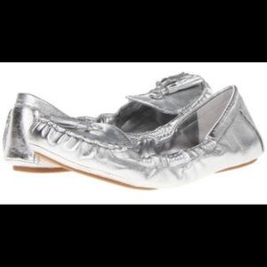Trenti Silver leather tassel loafers